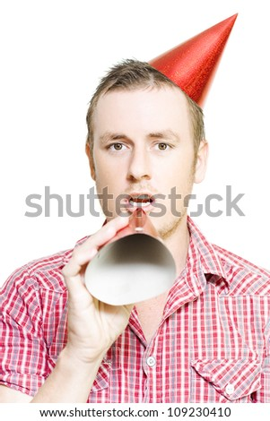 Man Making Birthday Speech Through Party Hat In A Invitation To Join The Celebration On White Background - stock photo