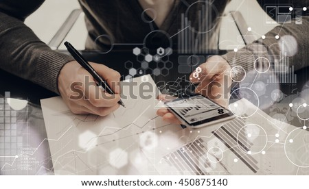 Man Making Charts Reports Process.Project Manager Research Social Trading.Business Team Work Startup modern Office.Global Strategy Virtual Icon.Innovation Graphs Interface.Analyze market stock.Blurred - stock photo