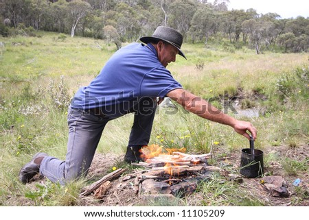 Man making fire