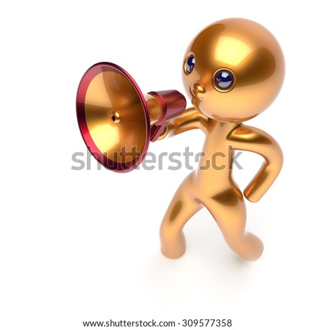 Man making news announcement megaphone leader character golden stylized human cartoon guy person speaking people communication speaker figure icon concept yellow 3d render isolated - stock photo