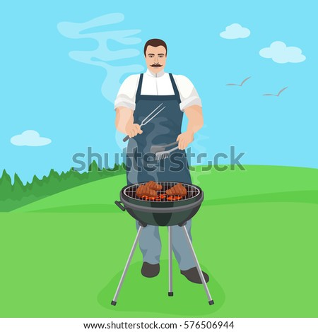 Man male cook preparing meal on the grill. Barbecue in nature jard  illustration.