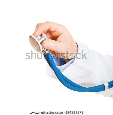 man, male doctor hand holding a stethoscope isolated on white background - stock photo