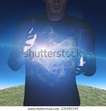 Man manipulates energy or matter - stock photo