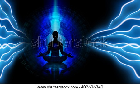 man meditate dark abstract circle background, yoga. beam. ray.  - stock photo