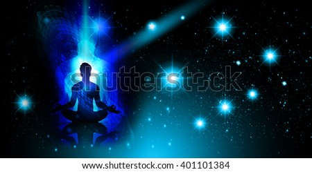 man meditate dark blue abstract circle background, yoga. beam. ray, digital cyber security Blue abstract hi speed internet technology background. star