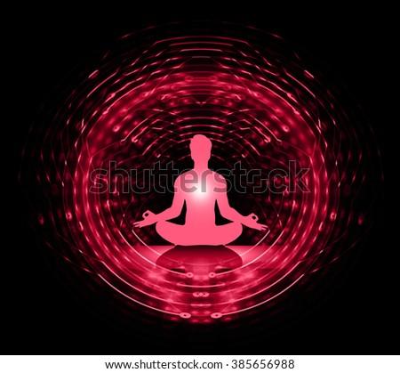 man meditate dark pink abstract background, yoga. ray. beam. - stock photo