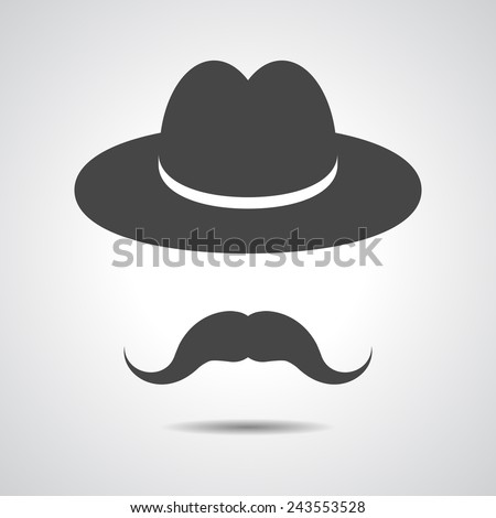 man moustache icon - black hat with mustache isolated on a grey background - stock photo