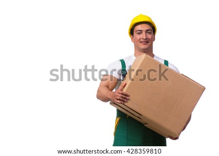 Man moving boxes isolated on the white background - stock photo