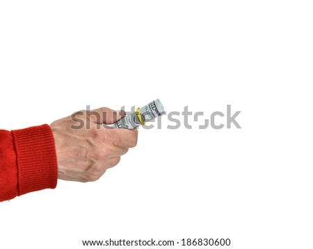 Man'n hands with dollar bills on a white background