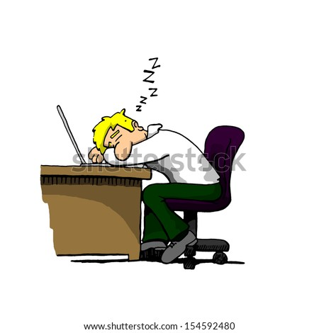 Man Napping, Asleep At A Desk - stock photo