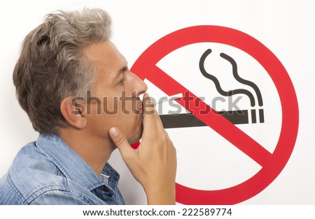 Man. No smoking concept a no smoking sign - stock photo