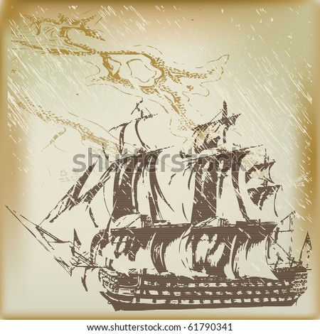 Man O' War Background, illustration with a three-decker sailing ship over a grunged map - stock photo