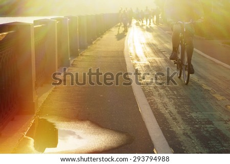 Man of bicycle - stock photo