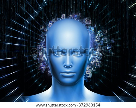 Man of Number series. Design composed of human head, numbers and visual elements as a metaphor on the subject of human mind, modern technology, education and science - stock photo