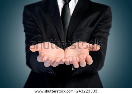 Man offer hand and holding nothing