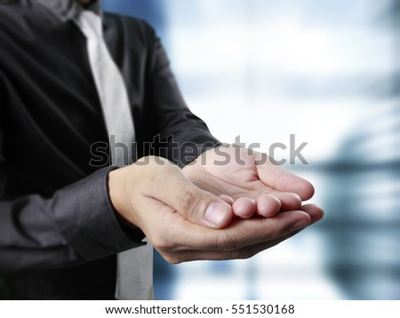 Man offer the hand and holding