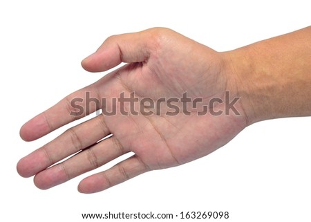 Man offering handshake to you on white background