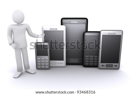 man offers a lot of mobile phones and smart phones