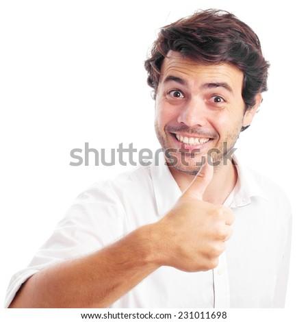 man ok gesture on a white background - stock photo