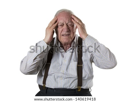 man old white headache portrait face - stock photo