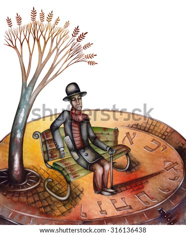 Man on a bench - stock photo