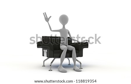 man on a black armchair isolated on white background