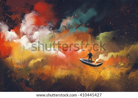man on a boat in the outer space with colorful cloud,illustration