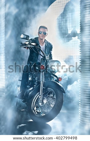 Man on a motorcycle - stock photo
