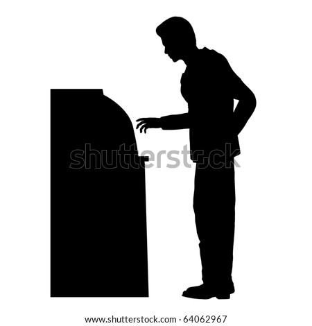 Man on ATM silhouette illustration