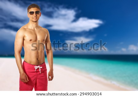 Man on beach at Maldives. Collage. - stock photo