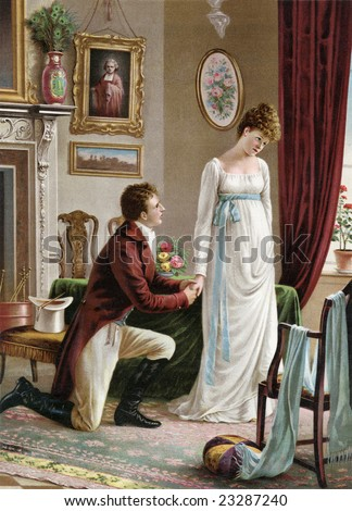 Man on bended knee proposing marriage to a shy woman - a Victorian style illustration, circa 1830