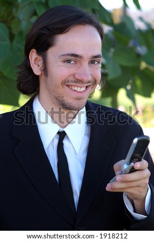 man on cell phone - stock photo