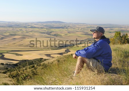 Man on Hike - stock photo