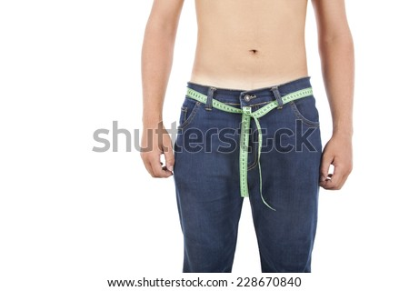 man on isolated background with a tape measure - stock photo