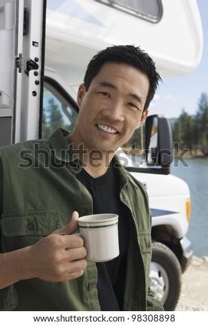 Man on Road Trip - stock photo