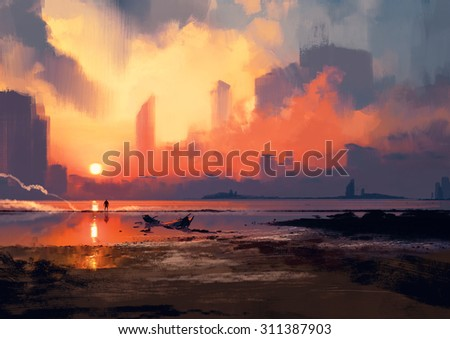 man on sea beach looking at skyscrapers at sunset,illustration painting
