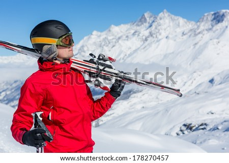 Man On Ski Holiday In the Mountains