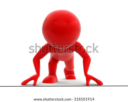 Man on start. Image with clipping path - stock photo