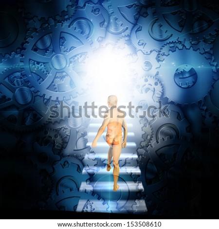 Man on strps walks into machine - stock photo