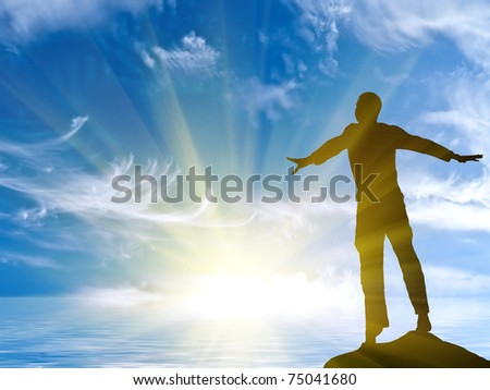 man on the mountain reaches for the sun