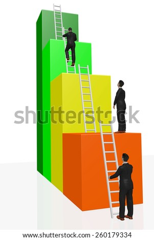 Man on the success ladder - stock photo
