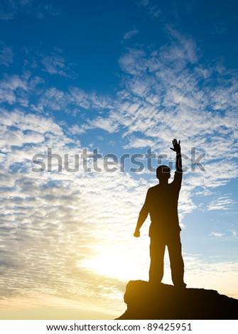 man on the sunset - stock photo