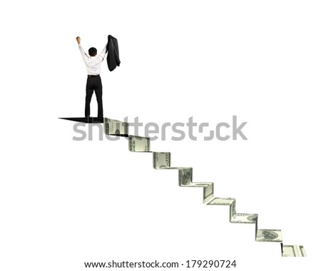Man on top of money stairs cheering in white background - stock photo
