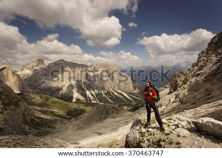 Man on treeking in Dolomites Mountain, Italy