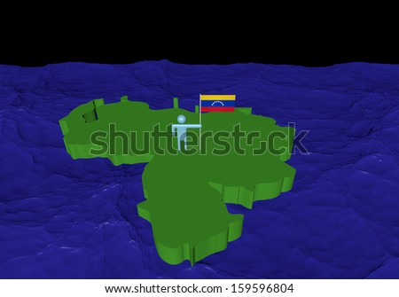 Man on Venezuela map with flag in ocean illustration