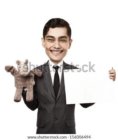 Man on white background - stock photo