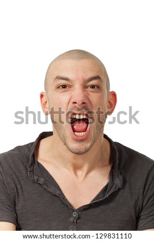 man on white background screaming