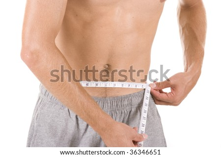 Man on white background with measuring tape. - stock photo
