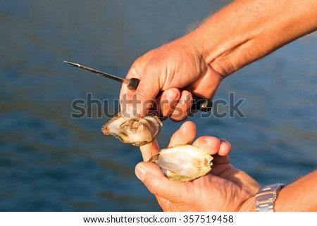 Man open fresh oyster held with knife at sea background - stock photo