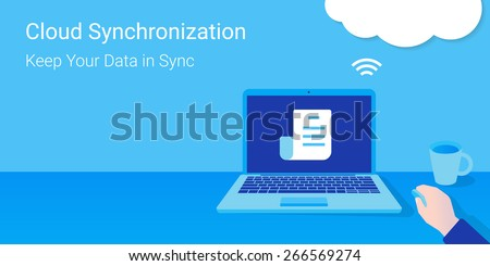 Man opened a document from synchronized cloud server. Cloud synchronization.  - stock photo